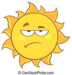 Grumpy Sun Cartoon Character
