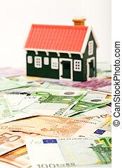 grundande, eller, pengar, fält, hus