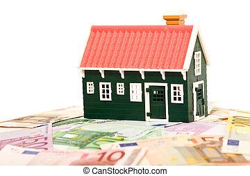 grundande, pengar, -, isolerat, fält, hus, eller