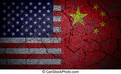 Dual US and China flags painted on concrete wall in grunge effect with deep cracks to illustrate the broken or tense relations between the two countries.