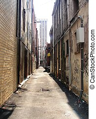 an urban alley in Knoxville, TN