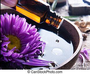 grundläggande, aromatherapy., behandling, oil., kurort