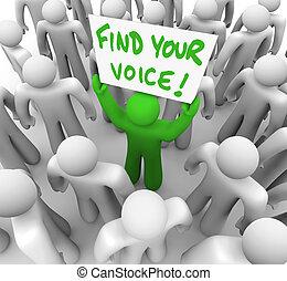 grundlæg, din, stemme, underskriv mand hold, ind, flok, -, tillid