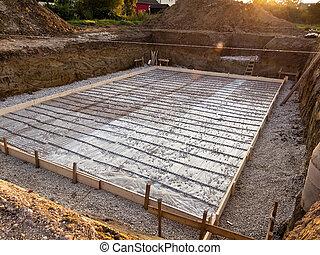 grundlægning, konstruktion, kælder, hus