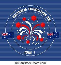 grundlage, australia, blue., abbildung, etikett, vektor, tag
