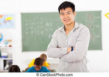 grundskola, manlig, asiat, lärare