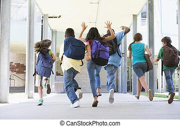 grundskola, utanför, spring, elever