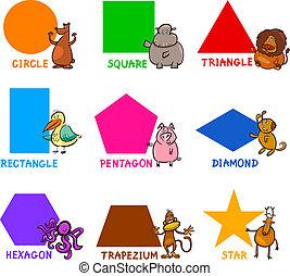 grundwortschatz, geometrische formen, mit, karikatur, tiere