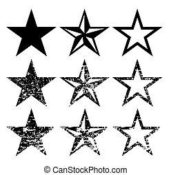 grunge, állhatatos, csillag