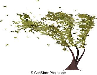 grunge, árbol, en, el, wind., vector