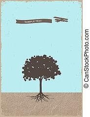 grunge, árvore, avião papel, antigas, silueta