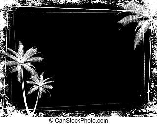 grunge, árvore palma, fundo