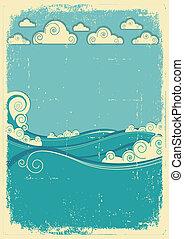 grunge, årgång, abstrakt, day., papper, hav, vågor, sol,...