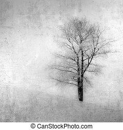 grunge, årgång, avbild, träd, bakgrund, över