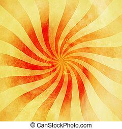 grunge, Årgång, Struktur, bakgrund, snurra, apelsin,  sunburst, virvla runt, röd
