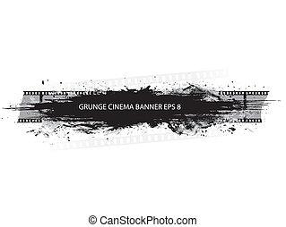 grunge, éclaboussure, bannière, cinéma