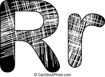 grunge, égratignure, symbole, r, conception, white., lettre, alphabet