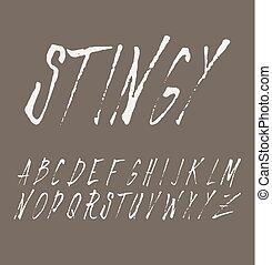 grunge, égratignure, typographie, police, vendange, type