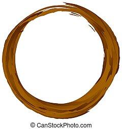 grunge, élément, brun, circulaire, grungy, gribouiller, ...