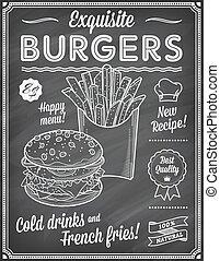 grunge, élelmiszer, étrend, gyorsan, chalkboard, sablon