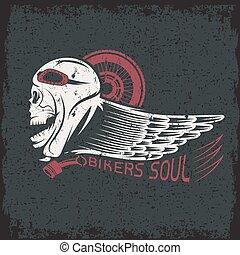 grunge, étiquette, motards, thème, crâne, aile