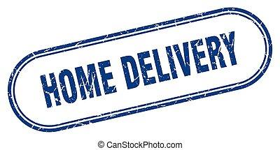 grunge, étiquette, stamp., arrondi, livraison, signe., maison, textured