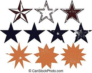 grunge, étoiles, collection