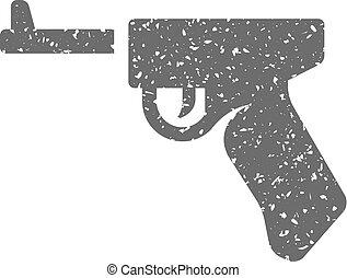 grunge, ícone, -, arma, mão