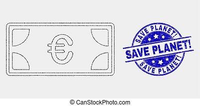 grunge, ícone, selo, renda, notas, vetorial, selo, planet!, salvar, ponto, euro