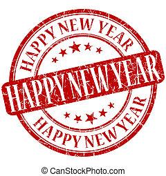grunge , γραμματόσημο , έτος , καινούργιος , στρογγυλός , κόκκινο , ευτυχισμένος