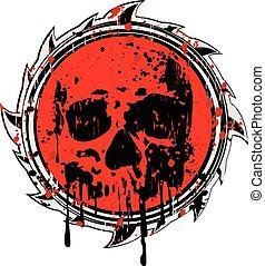 grunge , κόκκινο , σήμα , να , κρανίο