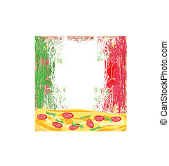 grunge , πίτα με τομάτες και τυρί , αφίσα