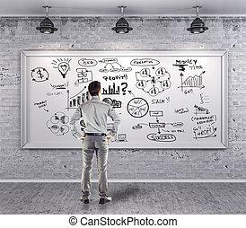 grunge, 事務, 牆, 計劃, 衣服, 商人