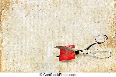 grunge, 信用, 切, 背景, 剪刀, 卡片