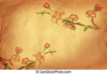 grunge, 分支, 開花, 樹, 黃色的背景