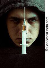 grunge, 形象, 在中, a, 压抑, 药物吸毒者, 看, a, 注射器, 同时,, 药物