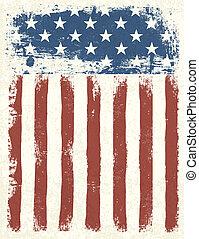 grunge, 插圖, 美國人, eps, 背景。, 旗, 矢量, 10.