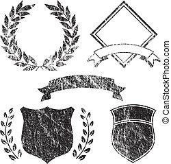 grunge, 旗帜, 同时,, 标识语, 元素