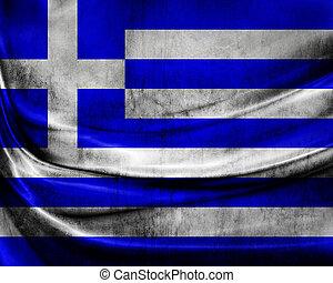 grunge, 旗, 希臘