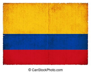 grunge, 旗, ......的, 哥倫比亞