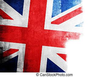 grunge, 旗, ......的, 英國