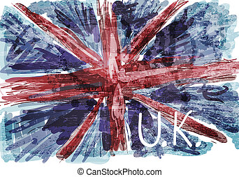 grunge, 旗, ......的, england