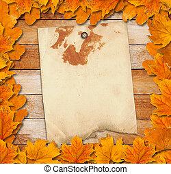 grunge, 明亮, 离开, 老, 背景, 木制, 秋季