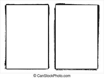 grunge, 框架, 二, 邊緣, 矢量, 電影