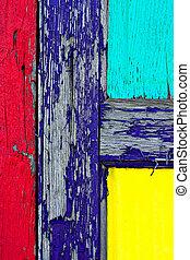 grunge, 涂描, 在上, 木制的门