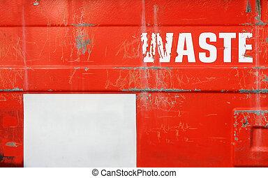 grunge, 紅色, 廢的貯藏室, 由于, 模仿空間