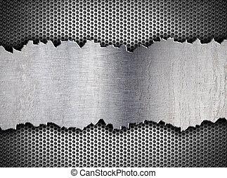 grunge, 裂縫, 金屬, 背景, tempalte