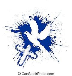 grunge, 風格, dove., 鴿子, 由于, a, cross., 矢量, 插圖, 被隔离, 在懷特上, 背景