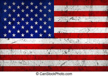 grunge, 骯髒, 以及, 風化, 美國, (american), 旗