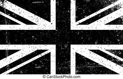 grunge, 黑色 和 白色, 矢量, 圖像, ......的, the, 英國人, flag., 摘要,...